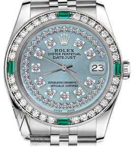 Rolex Ladies Rolex 26mm Datejust Ice Blue String Emerald Diamond Dial Watch