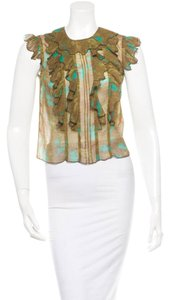 Anna Sui Silk Ruffle Top Olive Green/Turquoise