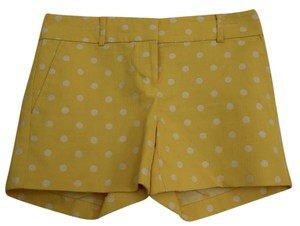 Ann Taylor Summer Mini/Short Shorts Yellow with White Polka Dots