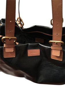 Escada Satchel in Black with tan trim