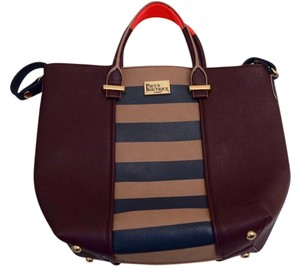Paul's Boutique London Travel Leather Tote in Brown with Navy, Tan Stripes, Navy Strap and Hot Pink Handles