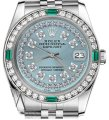 Rolex Women's Rolex 31mm Datejust Ice Blue String Emerald Diamond Dial Watch Image 0