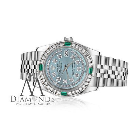 Rolex Women's Rolex 31mm Datejust Ice Blue String Emerald Diamond Dial Watch Image 1