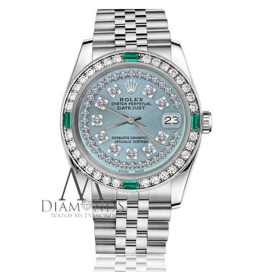 Rolex Women's Rolex 31mm Datejust Ice Blue String Emerald Diamond Dial Watch Image 2