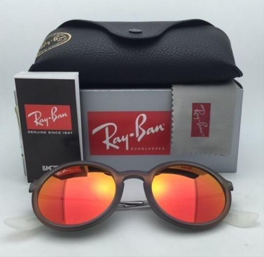 Ray-Ban New Ray-Ban Sunglasses RB 4222 6167/6Q 50-21 Shot Red Rubber Frame w/ Red Mirror Lenses Image 4