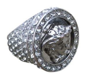 Versace Versace Silver Medusa Metal Ring w/Crystals