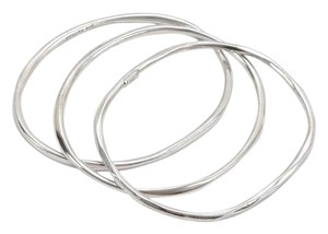 Ippolita Ippolita Sterling Sliver 3 Bracelet SET Squiggle Bangle Oval Slip On Style