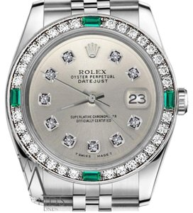 Rolex Rolex 36mm Datejust Stainless Silver Steel Emerald Color Diamond Dial Watch
