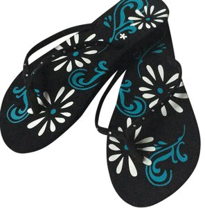 Ladies flip flops crystal accented in black new sz 8 Sandals