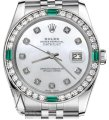 Rolex Ladies Rolex 26mm Datejust White Emerald Mother of Pearl Dial Diamond Image 0