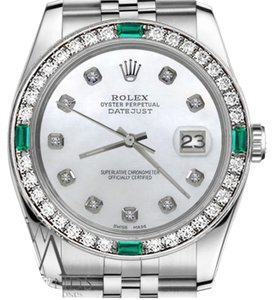 Rolex Ladies Rolex 26mm Datejust White Emerald Mother of Pearl Dial Diamond