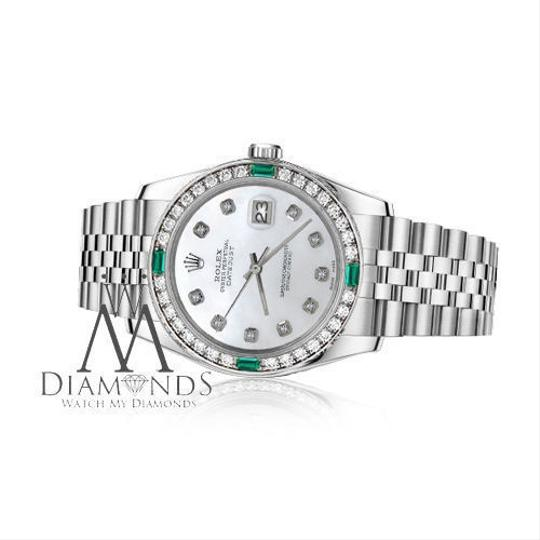 Rolex Ladies Rolex 26mm Datejust White Emerald Mother of Pearl Dial Diamond Image 1