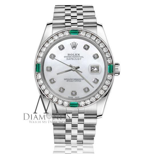 Rolex Ladies Rolex 26mm Datejust White Emerald Mother of Pearl Dial Diamond Image 2