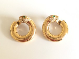 Cartier Gorgeous Cartier 18k Yellow Gold Diamond Emerald Panthere Earrings