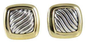 David Yurman David Yurman Sterling Silver 18K Yellow Gold 11mm Carved Cable Albion Earrings