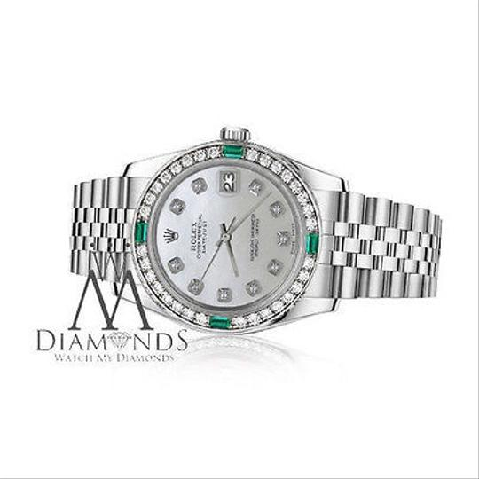 Rolex Ladies Rolex 26mm Datejust White MOP Mother Of Pearl Emerald Diamond Image 1