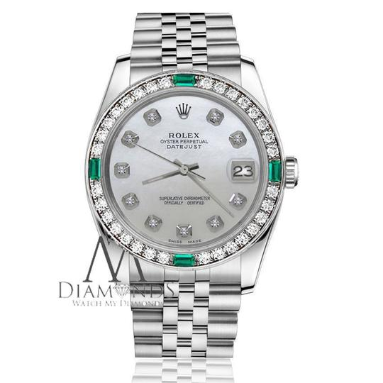 Rolex Ladies Rolex 26mm Datejust White MOP Mother Of Pearl Emerald Diamond Image 2
