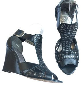 Vince Camuto Embellished Leather Black/Bronze Wedges
