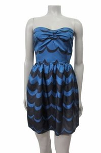 Corey Lynn Calter Delft Strapless Chevron Striped Dress