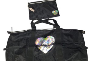 Victoria's Secret Tote in black w silver writing and heart