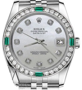 Rolex Rolex 36mm Datejust White MOP Mother Of Pearl Dial Emerald Diamond