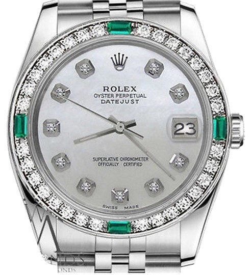 Preload https://img-static.tradesy.com/item/16246060/rolex-36mm-datejust-white-mop-mother-of-pearl-dial-emerald-diamond-watch-0-1-540-540.jpg
