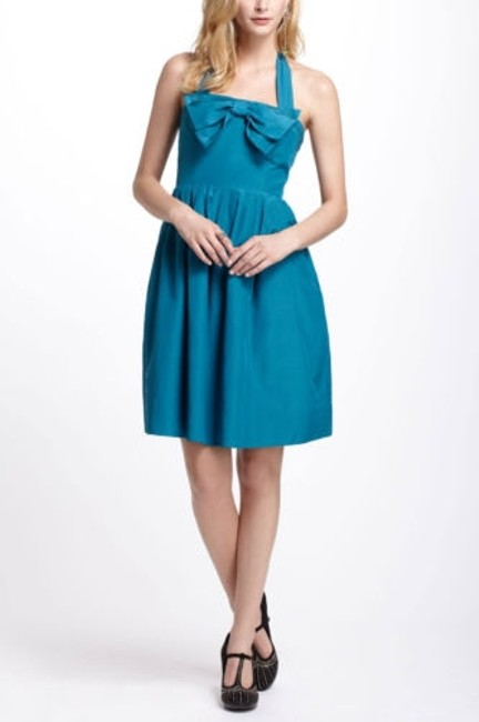 Item - Bowed Halter Dress By Hitherto Anthropologie Blue