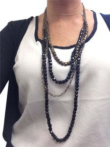 Stella & Dot Beautiful Layering necklace black and gold stone and chain -adjustable