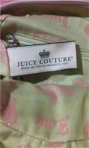 Juicy Couture Monogram Velvet Leather Handles Satchel in Hot pink