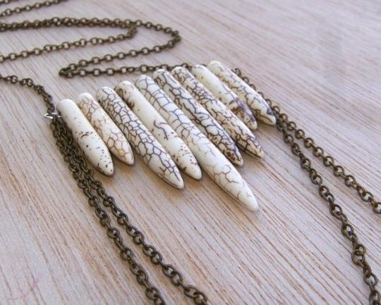 Other Howlite Turquoise Spears Long Brass Chain Necklace