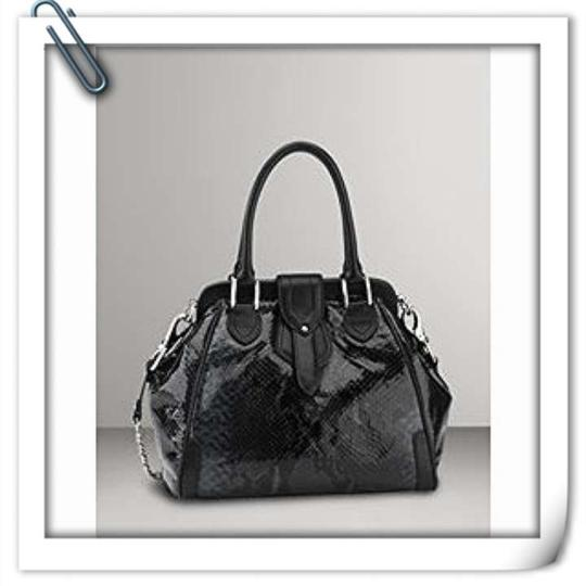 Cole Haan Snakeskin Python Leather Satchel in Black