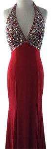 Tony Bowls Halter Gltter Train Slit Dress