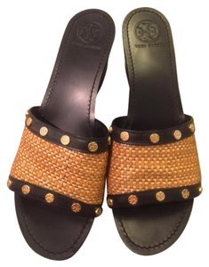 Tory Burch Black and brown wecker Wedges