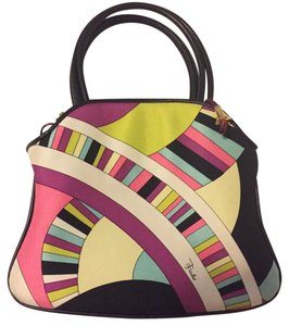 Emilio Pucci Vintage Silk Leather Monogram Baguette