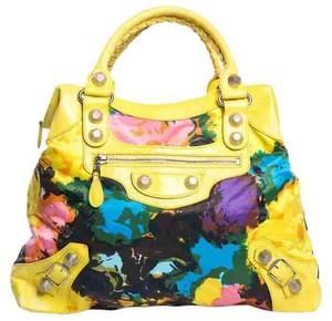 Balenciaga Satchel in Yellow & Multicolor Print
