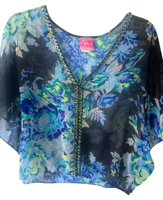 Free People Chiffon Beaded Vintage Top Blue/Multi-colored