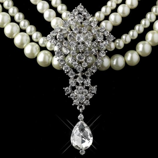 Elegance by Carbonneau Ivory/Silver Pearl Rhinestone Jewelry Set
