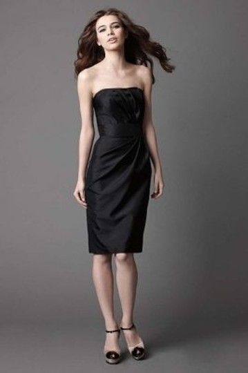 Wtoo Black Shantung 854 Modern Bridesmaid/Mob Dress Size 8 (M)