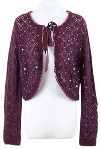 New York & Company Ny Collection Sequin Accent Ls Cropped Cardigan B130 Sweater