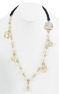 Coach Coach Poppy 36.5 Goldtone Navy Ribbon Heart Charm Pearl Crystal Necklace Bj01