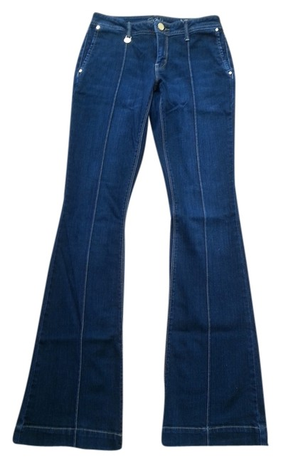 Cache Denim Size 0 Long Pintuck Leather Pockets Gold Details Sale Marked Down Boot Cut Jeans-Dark Rinse