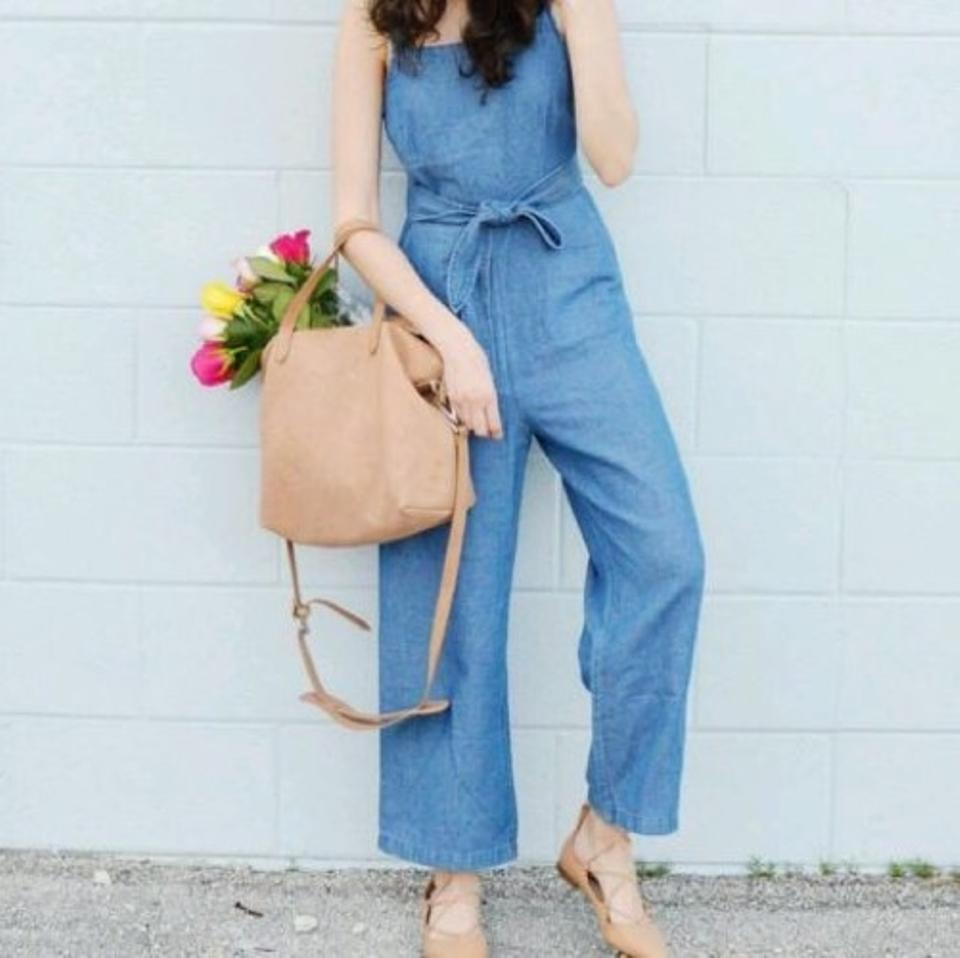 0a91d8a114e Madewell Blue Chambray Muralist Romper Jumpsuit - Tradesy