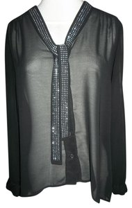 Studio Y Layering Button Up Longsleeve Studded Top Black Sheer