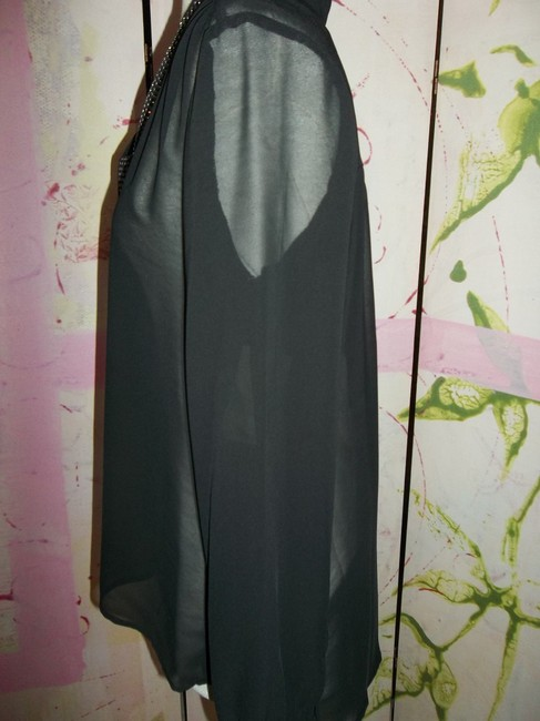 Studio Y Layering Button Up Longsleeve Studded Top Black Sheer Image 2