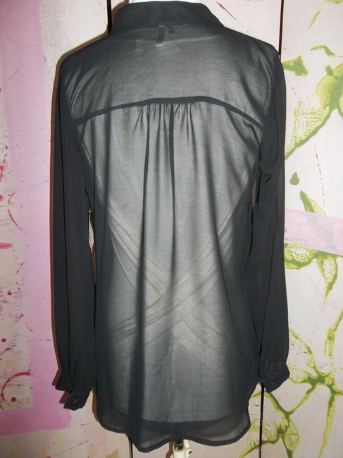 Studio Y Layering Button Up Longsleeve Studded Top Black Sheer Image 4