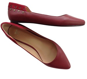 JOE'S Studded Leather Ballet Suede NEW red Flats