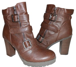 Guess Chunky Heel Bootie Buckles brown Boots
