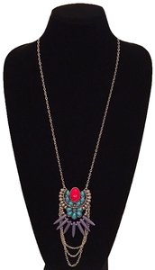 Other Turquoise & Red Marble Long Chain Tribal Pendant Necklace