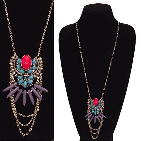 Other Turquoise & Red Marble Long Chain Tribal Pendant Necklace Image 1