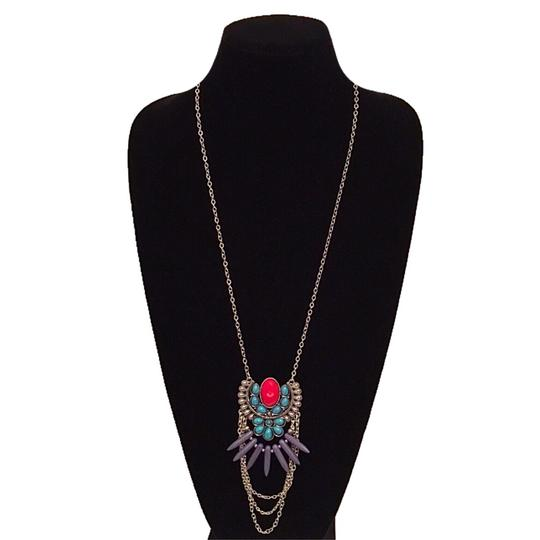 Other Turquoise & Red Marble Long Chain Tribal Pendant Necklace Image 2